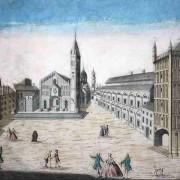 Prospetto della Chiesa Cattedrale con la sua Piazza con l'antica Cappella in Parma (calcografia Remondini 1770)