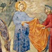 Giotto, Francesco dona il mantello a un povero